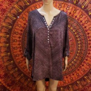 Rock & Republic cuffed sleeve blouse size XL